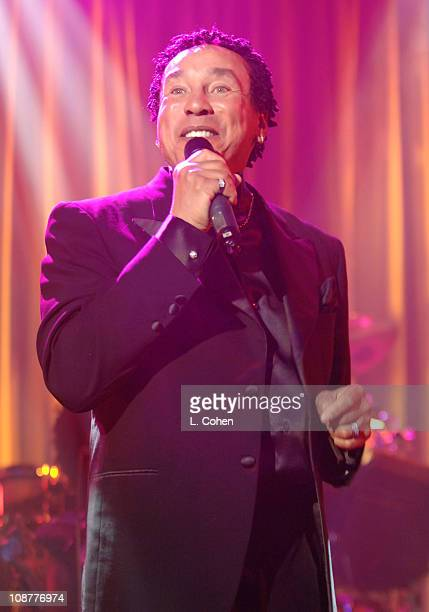 Smokey Robinson performs during 2007 Clive Davis PreGRAMMY Awards Party Show at Beverly Hills Hilton in Beverly Hills California United States