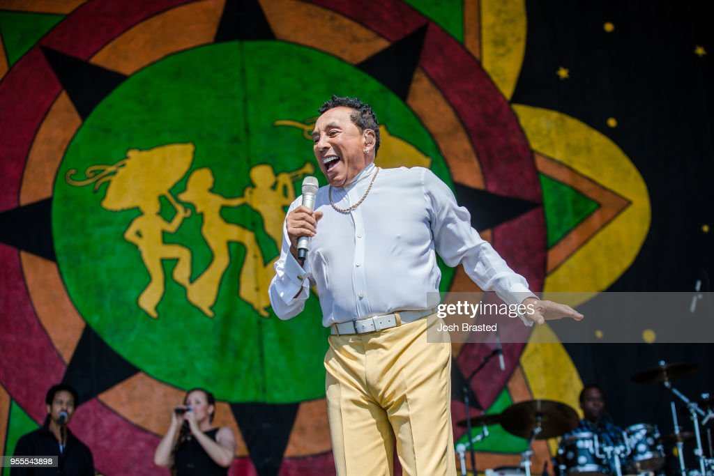 Smokey Robinson performs during the New Orleans Jazz & Heritage Festival at Fair Grounds Race Course on May 6, 2018 in New Orleans, Louisiana.