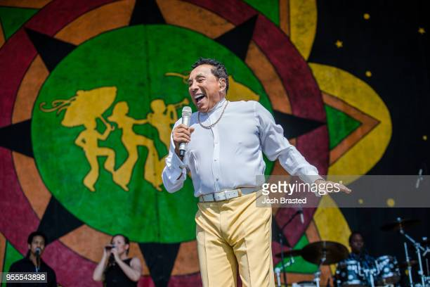 Smokey Robinson performs during the New Orleans Jazz Heritage Festival at Fair Grounds Race Course on May 6 2018 in New Orleans Louisiana