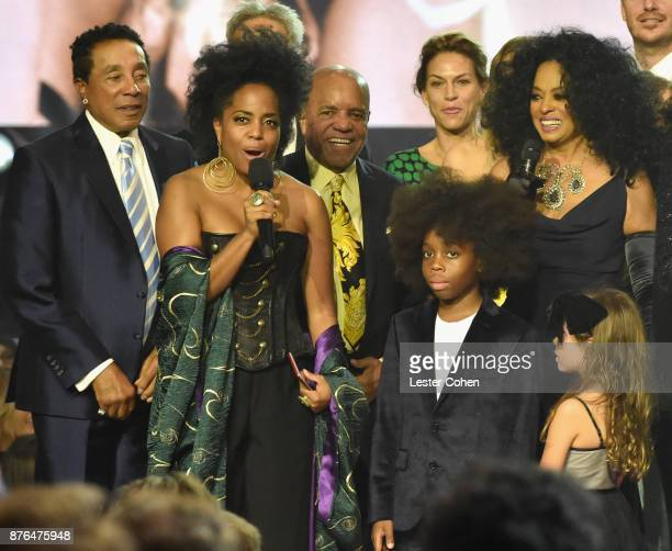 Smokey Robinson Rhonda Ross Kendrick Berry Gordy RaifHenok Emmanuel Kendrick and Diana Ross onstage during the 2017 American Music Awards at...
