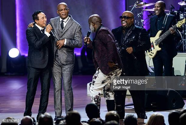Smokey Robinson Samuel L Jackson BeBe Winans and CeeLo Green perform during the 2016 Gershwin Prize For Popular Song Concert honoring Smokey Robinson...