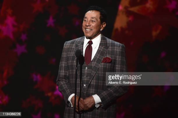 Smokey Robinson speaks onstage at AllStar Lineup Pays Tribute At 'Aretha A GRAMMYCelebration For The Queen Of Soul at The Shrine Auditorium on...