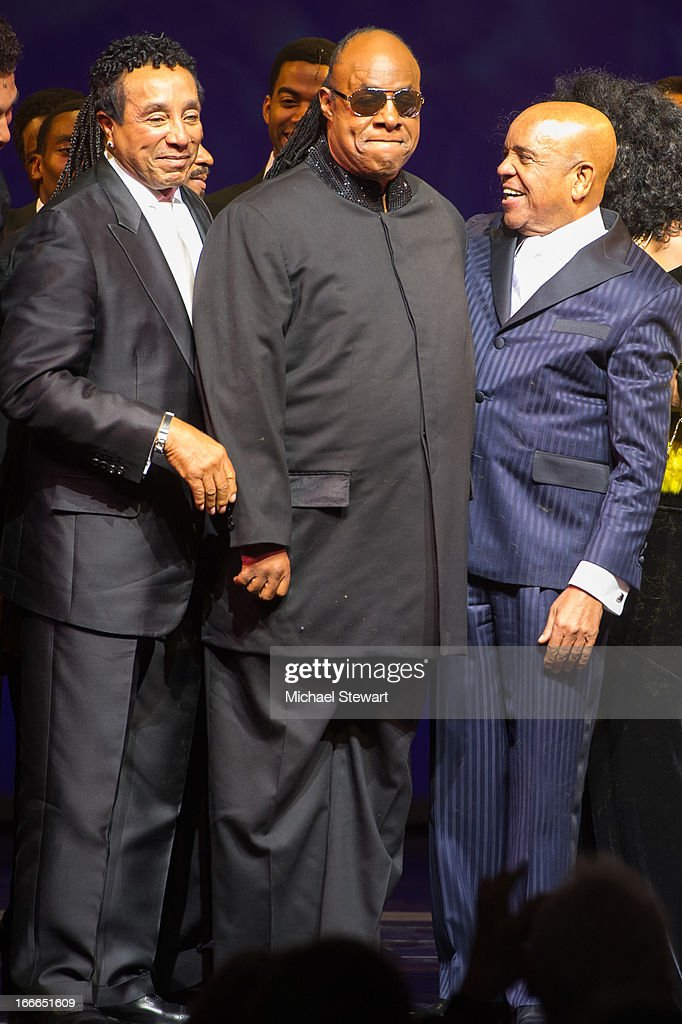 Smokey Robinson, Stevie Wonder and Berry Gordy Jr. attend the Broadway opening night for 'Motown: The Musical' at Lunt-Fontanne Theatre on April 14, 2013 in New York City.