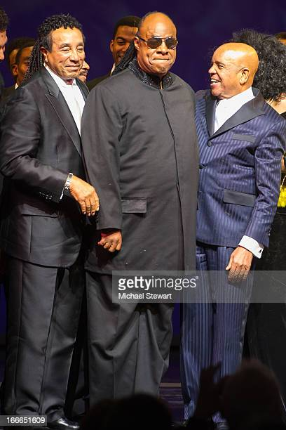 "Smokey Robinson, Stevie Wonder and Berry Gordy Jr. Attend the Broadway opening night for ""Motown: The Musical"" at Lunt-Fontanne Theatre on April 14,..."