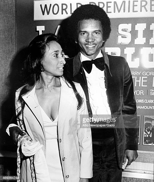 Smokey Robinson the singer with Motown records at the world premiere of the film biopic of the singer Billie Holiday Lady Sings the Blues in 1972...