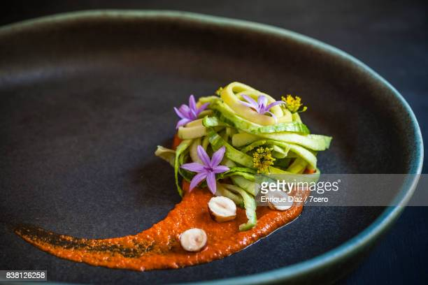 Smokey Romesco Sauce, Zoodles and Edible Flowers