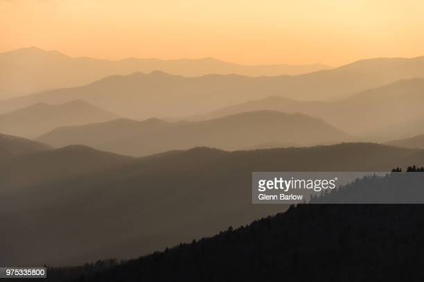 smokey sunset at clingman's dome - clingman's dome stock photos and pictures