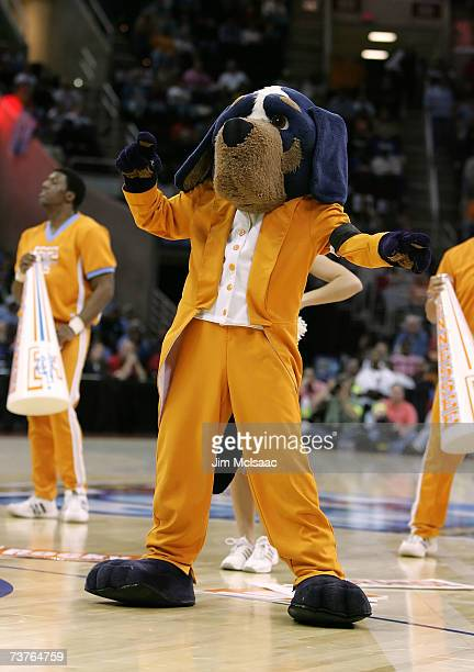 Smokey the mascot of the Tennessee Lady Volunteers performs against the North Carolina Tar Heels during their National Semifinal game of the 2007...