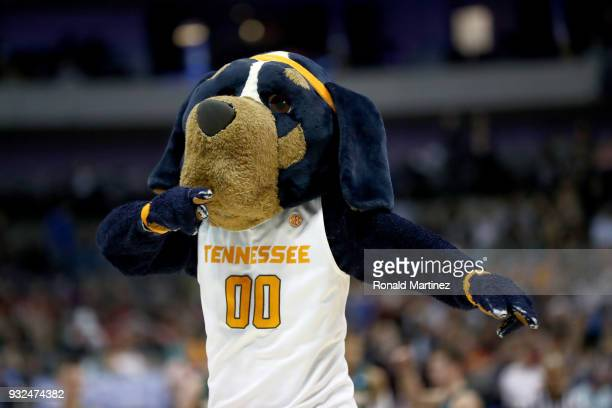 Smokey the mascot of the Tennessee Volunteers performs during a time out in the second half against the Wright State Raiders in the first round of...