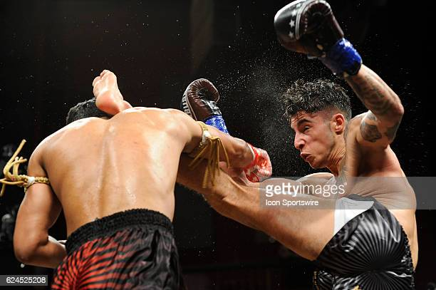 Smokin Jo Nattawut battles Hasan Toy during their super welterweight bout on November 18 2016 at the Fox Theater in Mashantucket Connecticut Smokin...