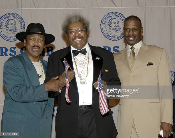 Smokin' Joe Frazier Don King and Michael Spinks during The Friars Club Roast of Don King at The New York Hilton in New York City New York United...