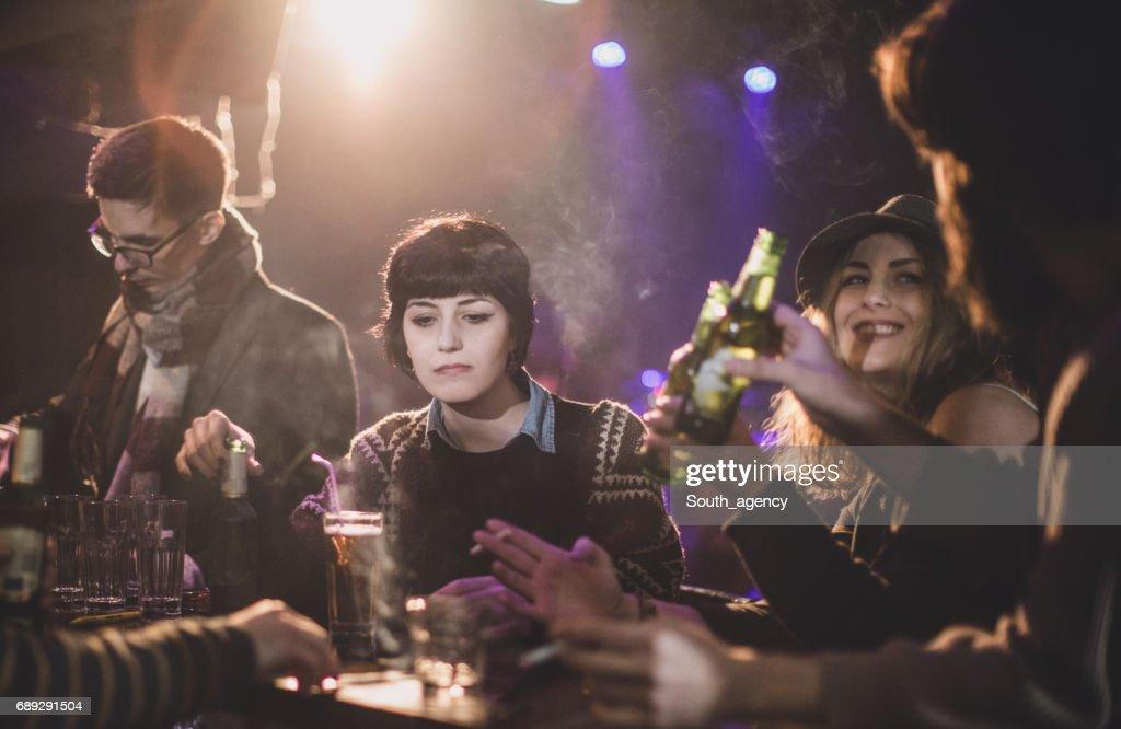 Smoking at the bar : Stock Photo