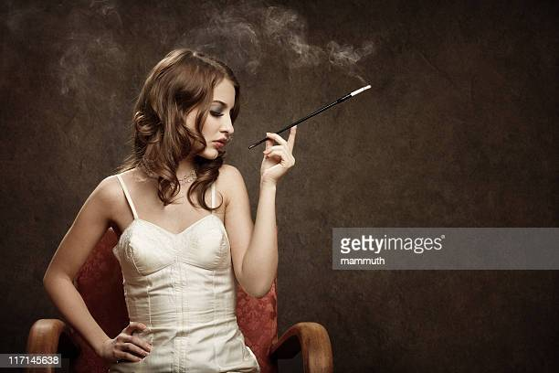 smoking bad girl - vintage style