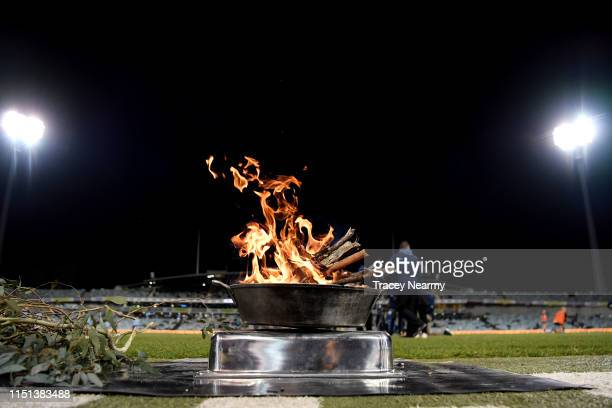 A smoking ceremony during the round 15 Super Rugby match between the Brumbies and the Bulls at GIO Stadium on May 24 2019 in Canberra Australia