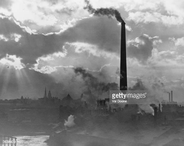 Smoking chimney stacks in Sheffield Yorkshire