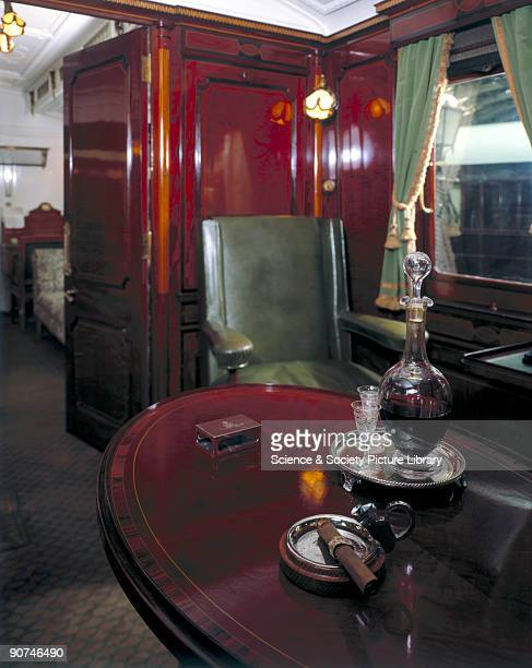 Smoking compartment in King Edward VII's Royal Saloon no 800 LNWR 1903 Interior view of the royal carriage built for Edward VII by the London and...