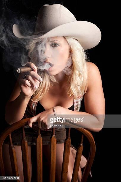 Smoking Cowgirl Portrait