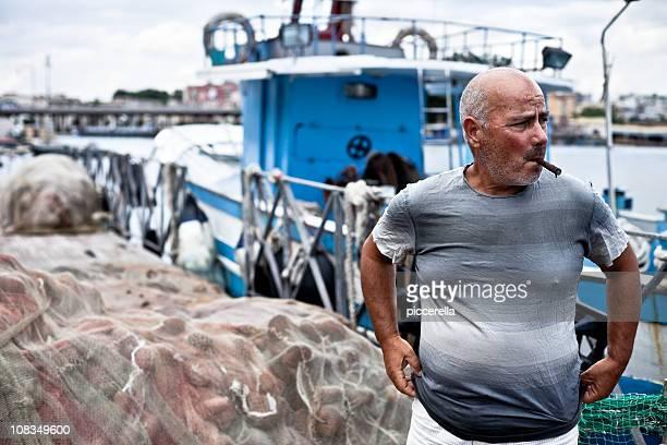 Rauchen Fischer auf Quay