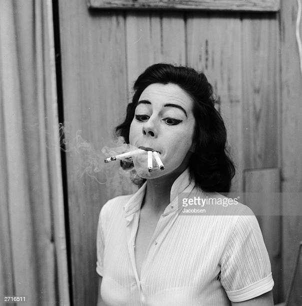 Smoking four cigarettes at once From a series of images parodying women's lifestyle and beauty magazines