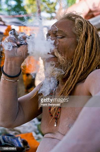 HARIDWAR UTTARANCHAL INDIA Smoking marihuana is illegal in India but nobody cares during the Kumbha Mela