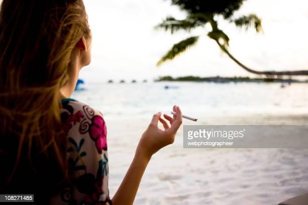 Smoking on beach