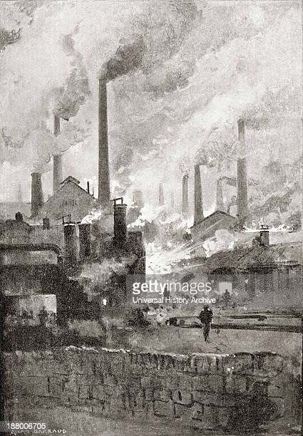 Smoking Steel Mills In Sheffield South Yorkshire England In The Late 19Th Century From Picturesque History Of Yorkshire Published C1900