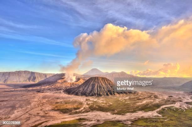 Smoking volcano Gunung Bromo, Mount Batok in front, Mount Kursi at back, Mount Gunung Semeru, Bromo Tengger Semeru National Park, Java, Indonesia