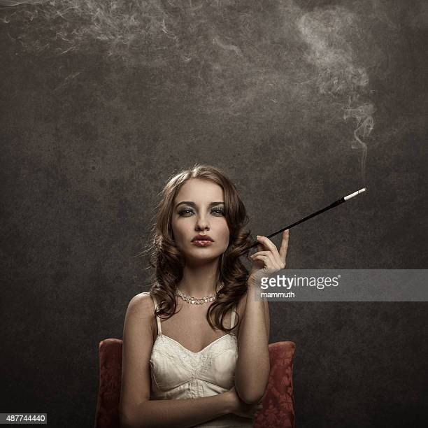 smoking young woman - vintage style
