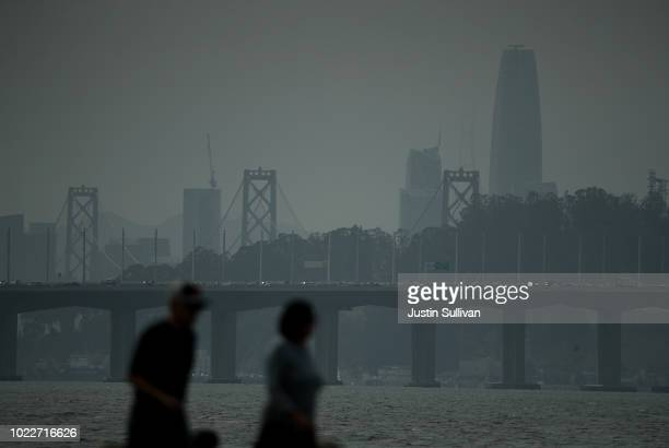 A smoky haze obstructs the view of the San Francisco skyline on August 24 2018 in San Francisco California Smoke from western wildfires has settled...