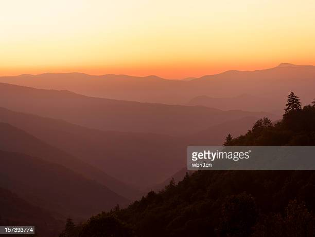 smoky mountain sunrise - newfound gap stock photos and pictures