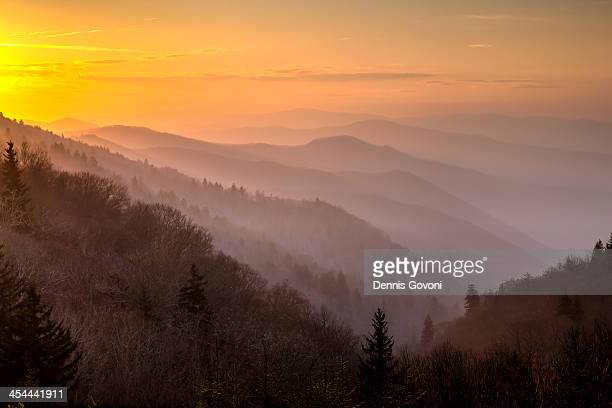 smoky mountains morning - newfound gap stock photos and pictures