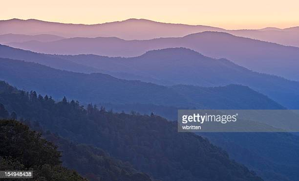 smoky mountains sunrise or sunset - newfound gap stock photos and pictures