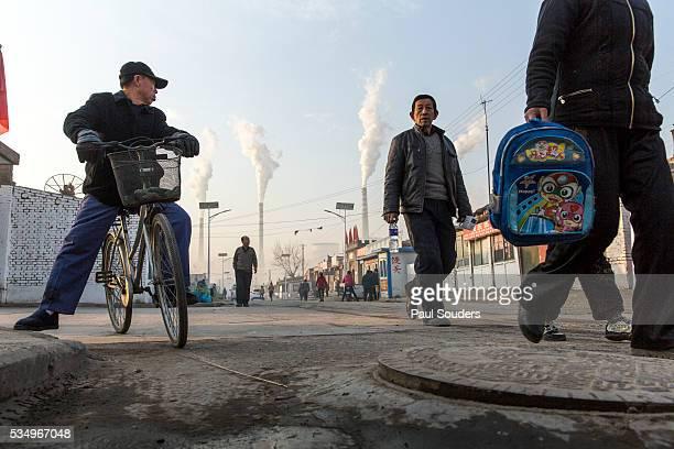 Smoky Neighborhood Streets Beneath Power Plant, Datong, China