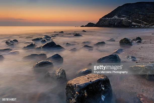 Smoky sea shore