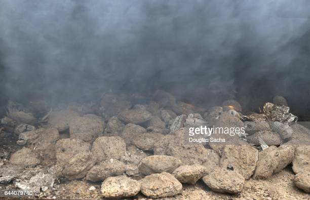 Smoldering charcoal in a public use grill