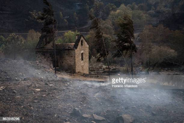 Smoldering hillside and a burned house are seen in the town outskirts on October 17 2017 in Alvoco das Varzeas Portugal Portugal's forest fires broke...