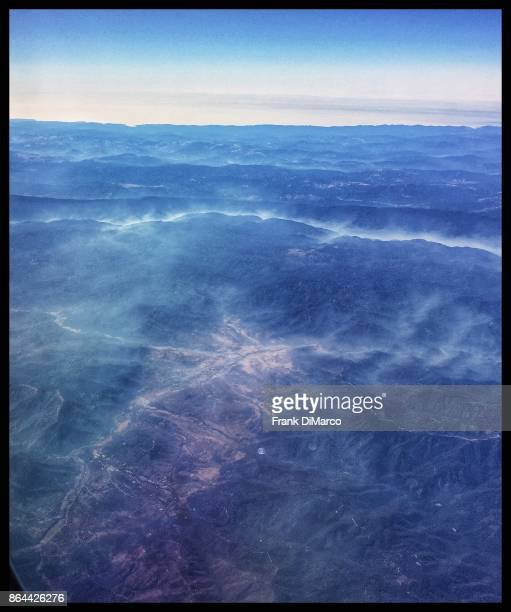 Smoldering Northern California wildfires from the air, 18 October 2017
