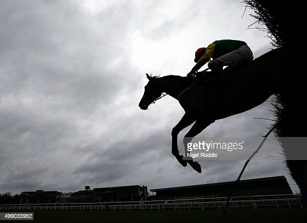 Smooth Stepper riden by Danny Cook jumps the last fence to win The Weatherbys Bank Novices Limited Handical Steeple Chase race at Newcastle...