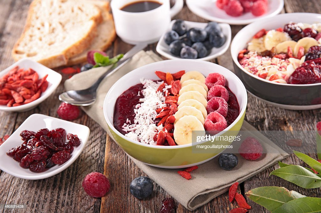 smoothie bowl, berry fruits and ingredient : Stock Photo