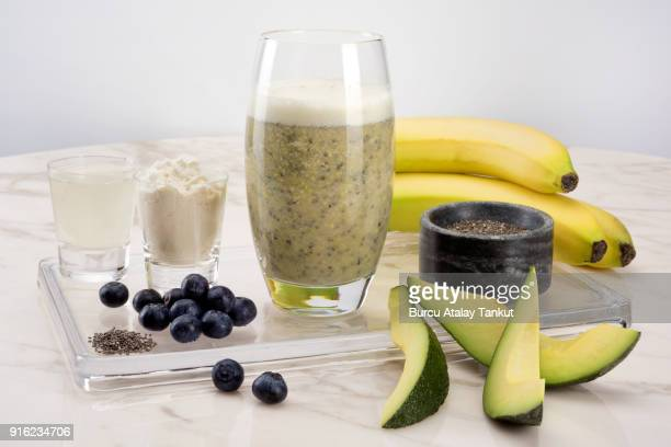 Smoothie with Avocado, Chia Seeds and Banana