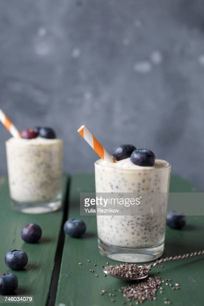 Smoothie with blueberries and chia seeds