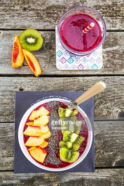 Smoothiebowl with fruits and chia seeds in bowl