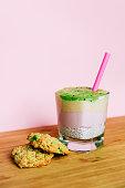 fresh smoothies with chia banana kiwi
