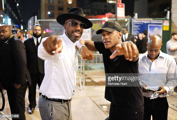 J B Smoove aka Jerry Angelo Brooks and Maxwell outside the Kola House Opening Party at Kola House on September 20 2016 in New York City