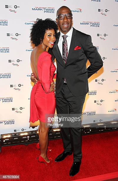 B Smoove and his wife Shahidah Omar arrive at the 2014 Kennedy Center's Mark Twain Prize For American Humor honoring Jay Leno at The Kennedy Center...