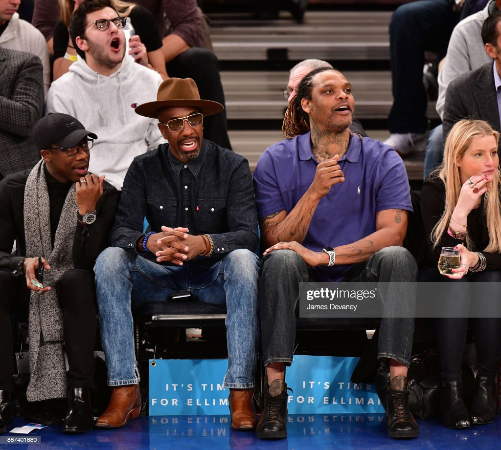 J.B. Smoove and Latrell Sprewell attend the Memphis Grizzlies Vs New York Knicks game at Madison Square Garden on December 6, 2017 in New York City.
