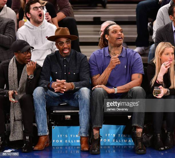 B Smoove and Latrell Sprewell attend the Memphis Grizzlies Vs New York Knicks game at Madison Square Garden on December 6 2017 in New York City