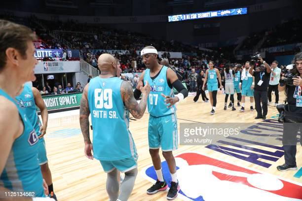 Smoove and NFL legend Steve Smith Sr #89 celebrate during the 2019 NBA AllStar Celebrity Game on February 15 2019 at Bojangles Coliseum in Charlotte...