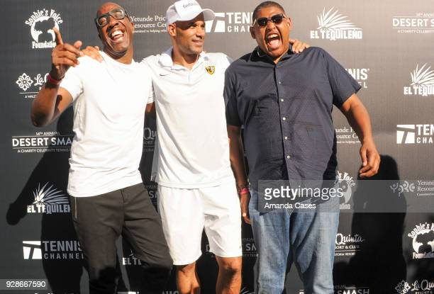 B Smoove Boris Kodjoe and Omar Miller arrive at The 14th Annual Desert Smash Celebrity Tennis Event on March 6 2018 in La Quinta California