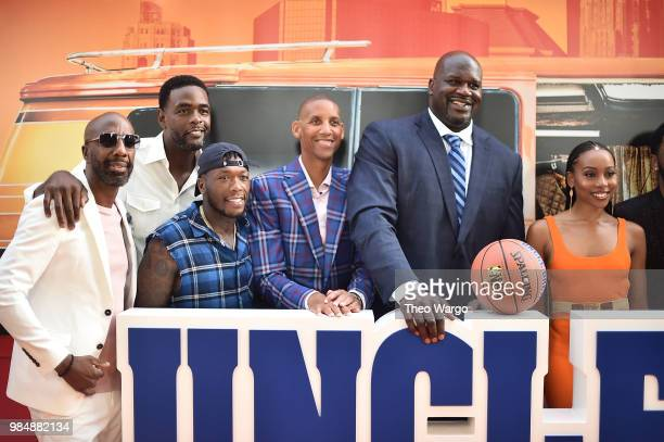 Smoove Chris Webber Nate Robinson Reggie Miller Shaquille O'Neal and Erica Ash attend the Uncle Drew New York Premiere on June 26 2018 in New York...